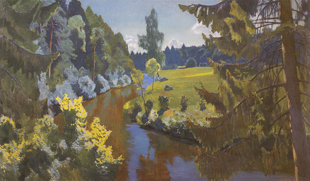 """Аркадий Александрович  Рылов_""""В зеленых берегах"""" (1938)"""
