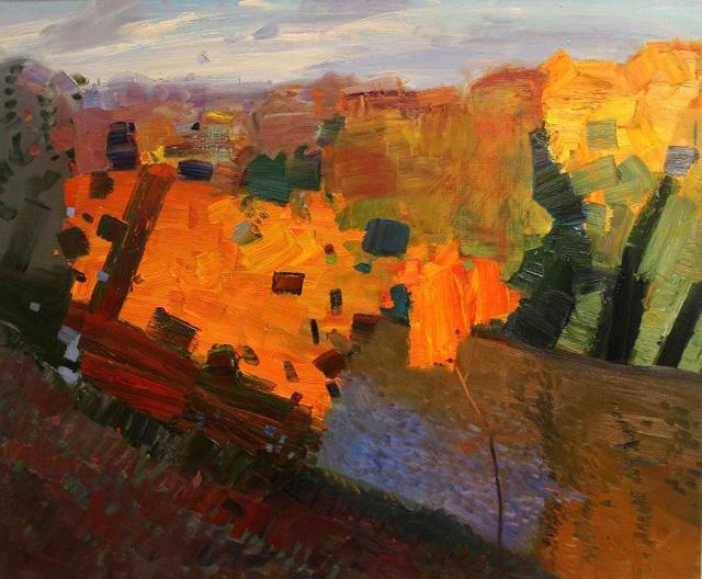 Картина российского художника Бато Дугаржапова «Упала осень» холст, масло, (2015).