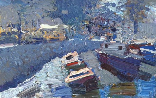 весенний этюд с лодками