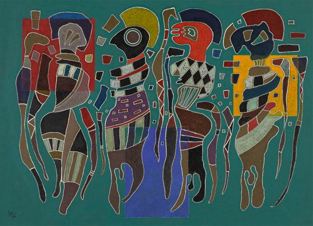 Василий Кандинский, «Четыре фигуры на трех квадратах», 1943, фото Sotheby's