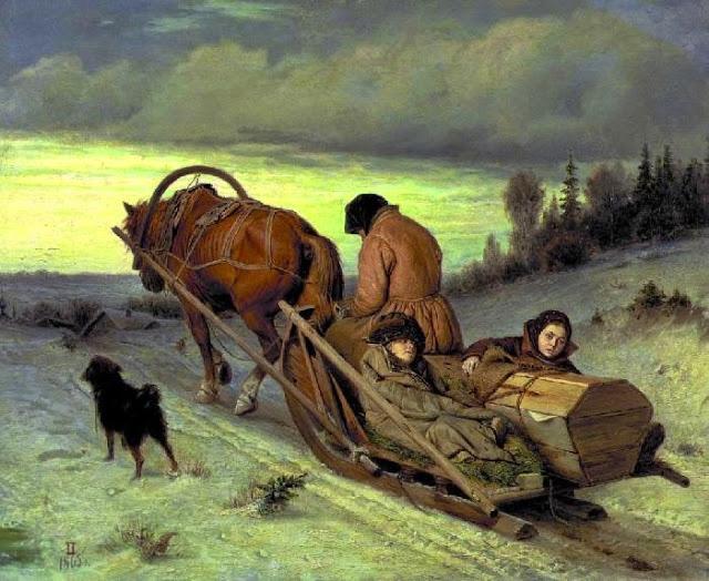 Ранняя версия картины Василия Перова «Проводы на пенсию». Датируется 1865 годом.