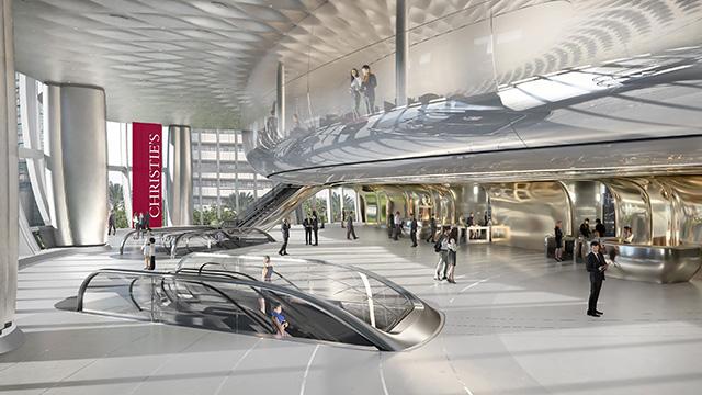 Визуализация вестибюля в новом офисе Christie's в Гонконге. Рендеринг: Christie's