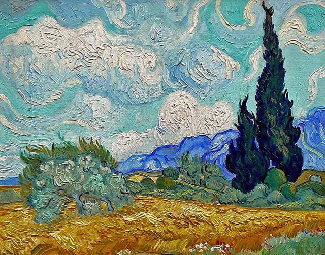 """Винсент ван Гог """"Пшеничное поле с кипарисами III"""" (1889)"""