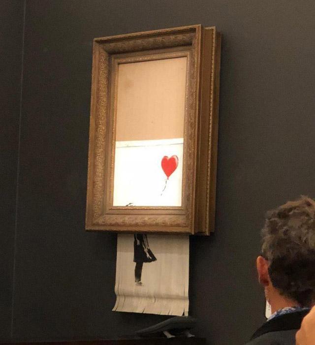 """""""Девочка с шаром"""", самоуничтожение. Фото: Sotheby's (2018)"""