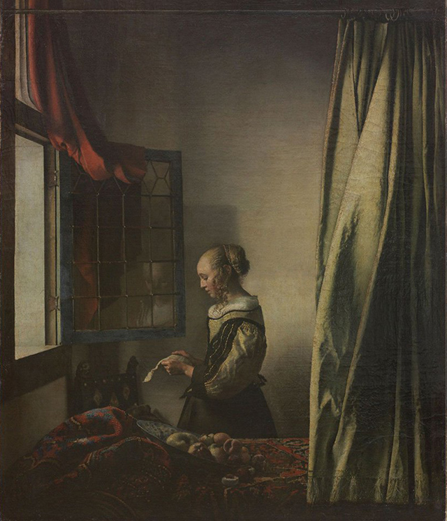 Картина Вермеера «Девушка, читающая письмо у открытого окна» до реставрации