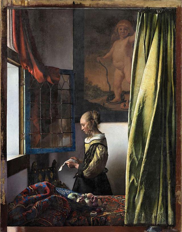 Картина Вермеера «Девушка, читающая письмо у открытого окна» после реставрации