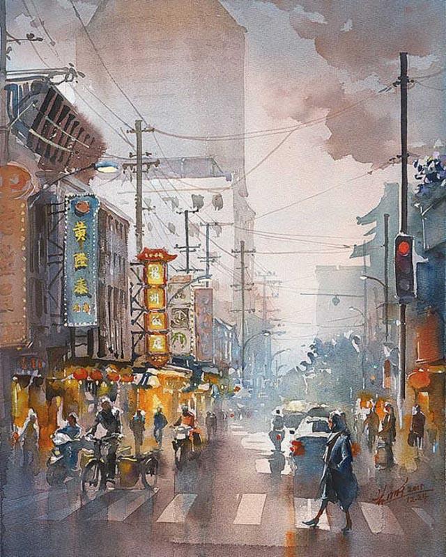 Акварель художника Кван Йюк Панга (Kwan Yeuk Pang)