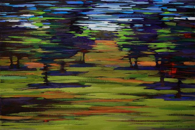 Лайма Года, «Сад» (картина из серии «Путевые зарисовки», 2016 г.), холст, акрил, масло, 40 х 60 см.