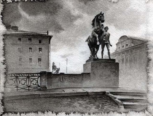 Городской пейзаж в графике Олега Евгеньевича Ильдюкова