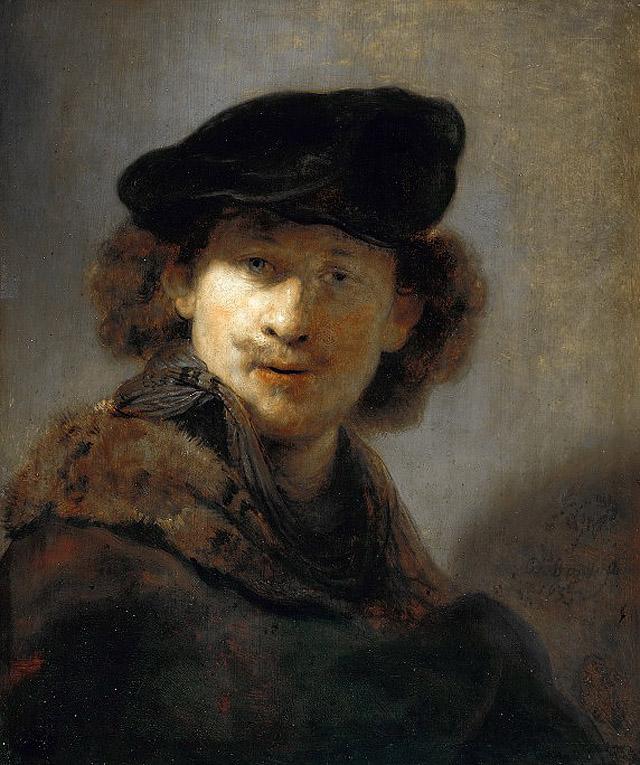Рембрандт_Автопортрет в берете и меховом плаще