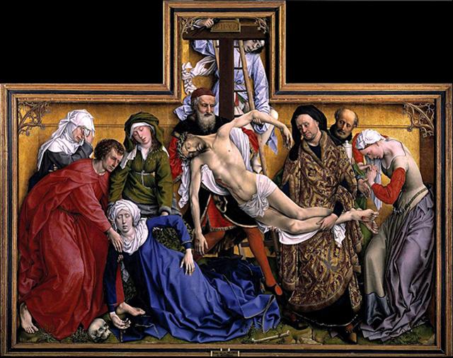 Рогир ван дер Вейден «Снятие с Креста».  Дубовая доска, масло. 220 × 262 см. Около 1435. Музей Прадо (Мадрид). Фото: Museo del Prado.