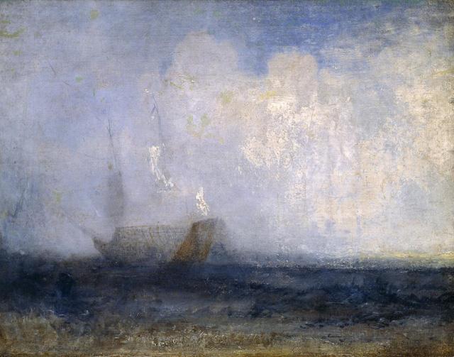 Уильям Тёрнер_Морской пейзаж с парусной шлюпкой и кораблем 1820-е