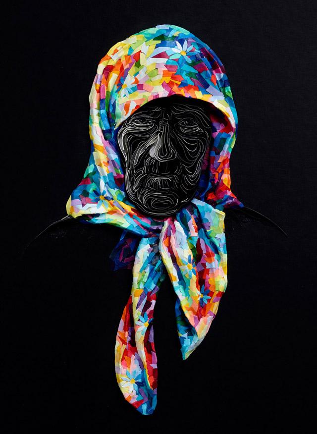 Старушка на черном фоне (автор - Юлия Бродская)