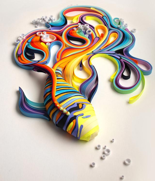 Fish, paper-art by Yuliya Brodsky