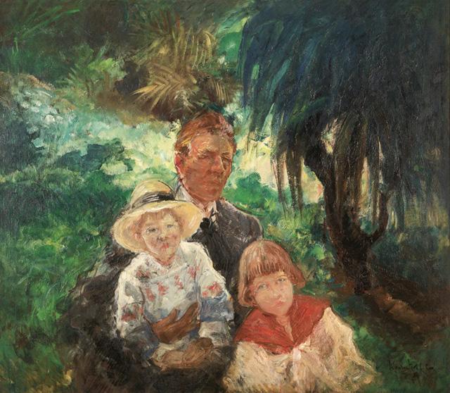 02-Константин Кузнецов_Автопортрет с сыновьями Михаилом и Александром, 1918