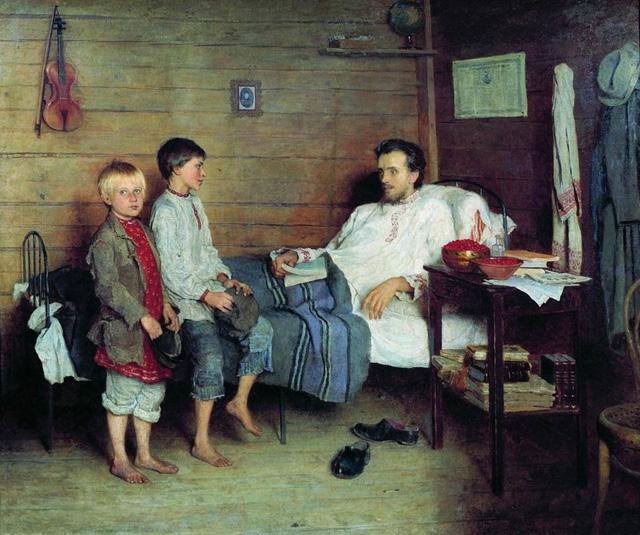 06-Н. П. Богданов-Бельский_У больного учителя. 1897