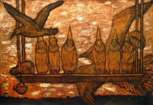 06_Анна Федорова_Наблюдать за полётом птиц_бумага, тушь, акрил, кракелюр (2015)