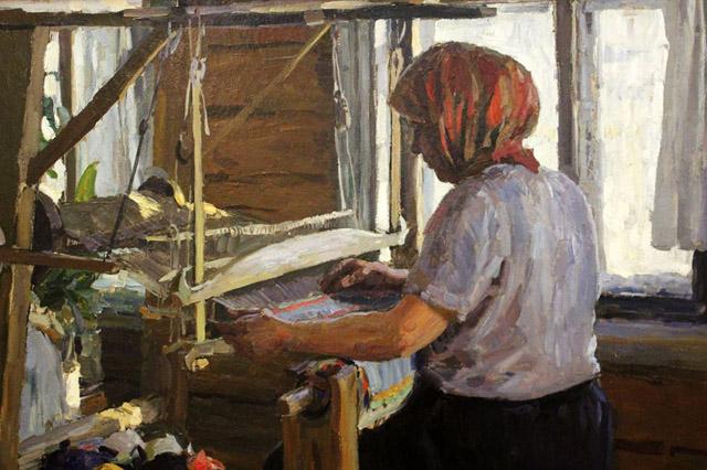 06_Кугач Ю.П._Ткёт половик (1957)