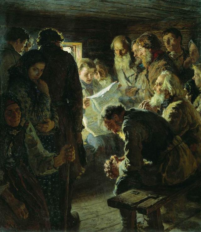 10-Н. П. Богданов-Бельский_За чтением газеты. Вести с войны. 1905