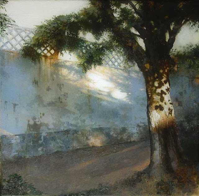 закатный пейзаж с деревом