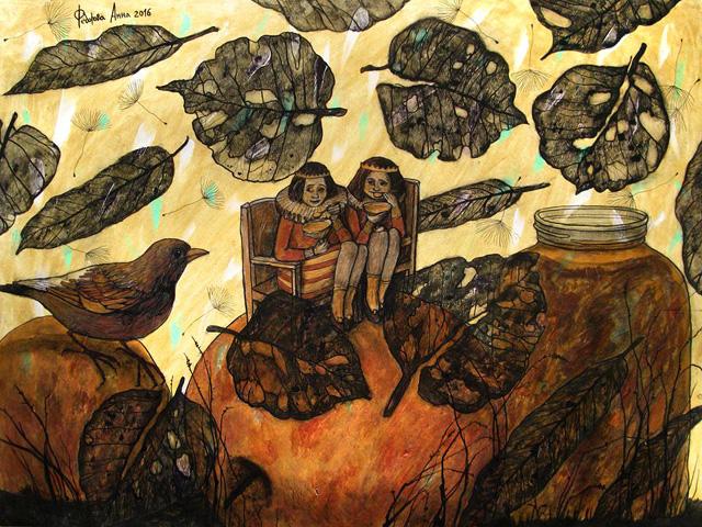 13_Анна Федорова_Яблочное варенье (вариант II), бумага, тушь, акрил (2016)