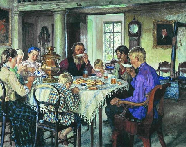 14-Н. П. Богданов-Бельский_Новые хозяева. Чаепитие. 1913