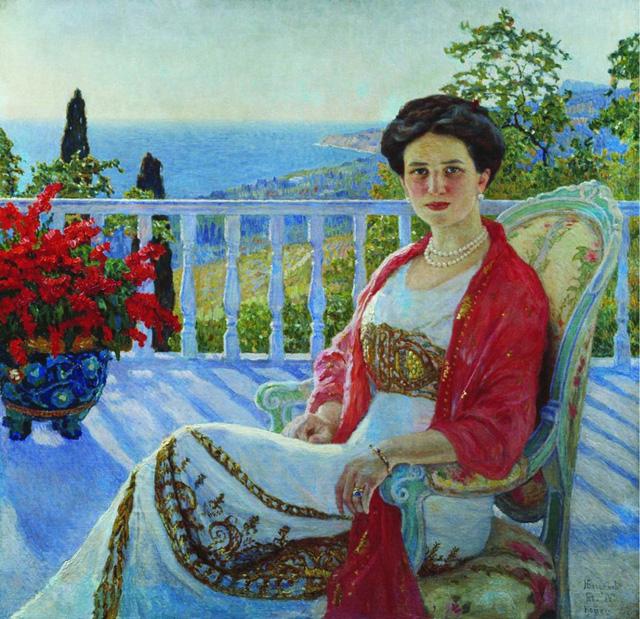 15-Н. П. Богданов-Бельский_Дама на балконе. Портрет И.А. Юсуповой. 1914