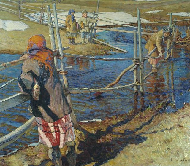 16-Н. П. Богданов-Бельский_Переправа. 1915