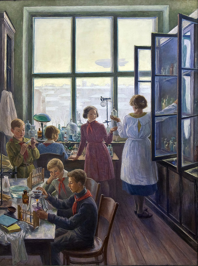 """Чернышёв Н. М., """"Будущие химики (В школьной химической лаборатории)"""", 1937 год"""