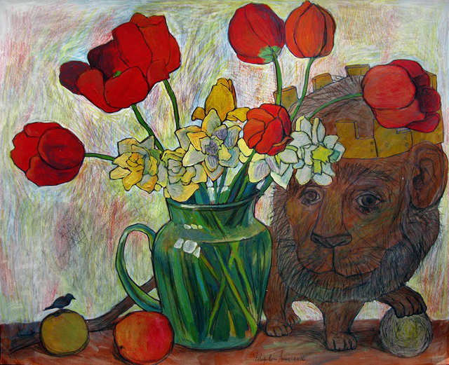 17_Анна Федорова_Букет тюльпанов и нарциссов. Лев_бумага, акрил, цв.карандаши (2016)