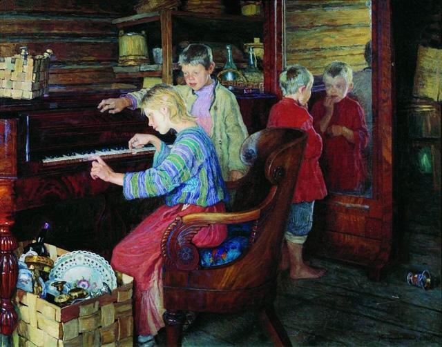 18-Н. П. Богданов-Бельский_Дети за пианино. 1918