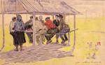 18-Станислав Никиреев - Колхозный обед, цветные карандаши, 1962