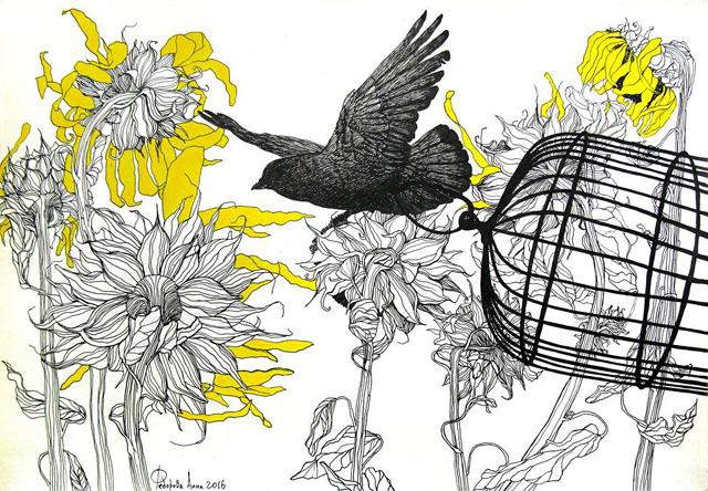 20_Анна Федорова_Птица с клеткой над подсолнухами_бумага, акрил, тушь (2016)