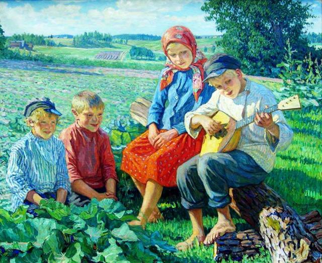 22-Н. П. Богданов-Бельский_Дети. Игра на балалайке. 1937