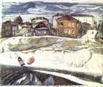 23-Станислав Никиреев - Вологда. Набережная реки, цветные карандаши, 1973