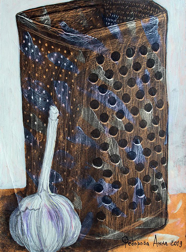 25_Анна Федорова_Тёрка_бумага, акрил, цв.карандаши, тушь (2019)
