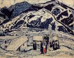 26-Станислав Никиреев - Карпаты, цветные карандаши, 1965