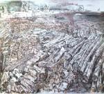 30-Станислав Никиреев - Дровяной склад на реке Сухона, цветные карандаши