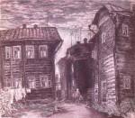 42-Станислав Никиреев - Старые дома, цветные карандаши, 1977