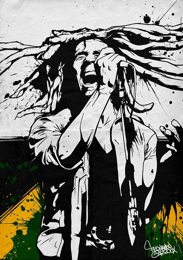 """""""Bob Marley"""" by artist Fernando Carroux"""