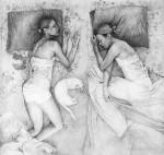 Две женщины на постели