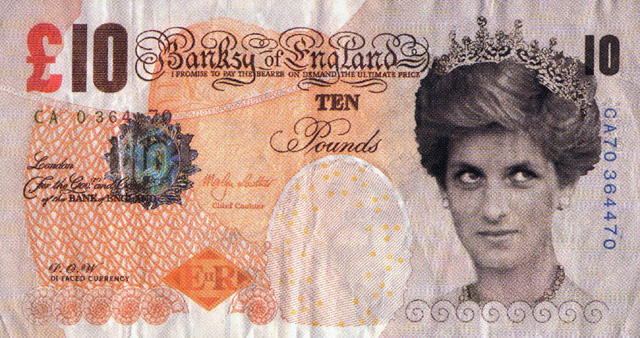 """Di-faced Tenner"" Photo: Banksy Courtesy of Pest Control Office"