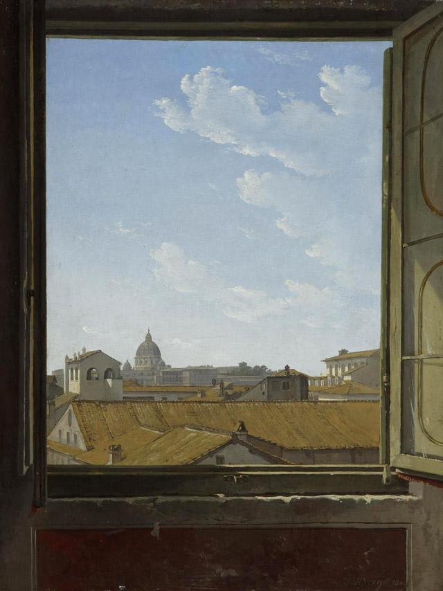Хэндрик Фокст (1768-1839) «Вид на Рим через окно» (1809)