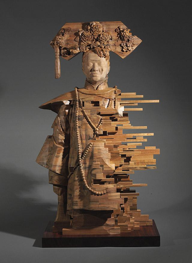 пиксельная скульптура из дерева, автор Хсу Тунг Хан
