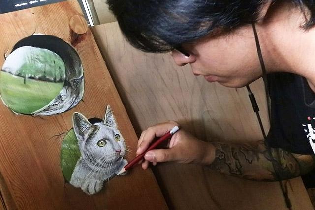 Иван Ху рисует кошку