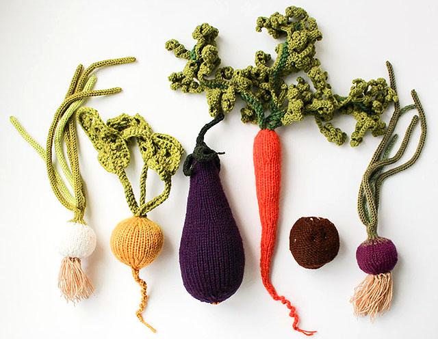 вязаные овощи