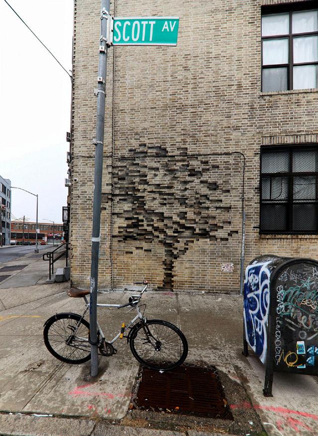 Фреска на стене бруклинского здания, автор - Pejac