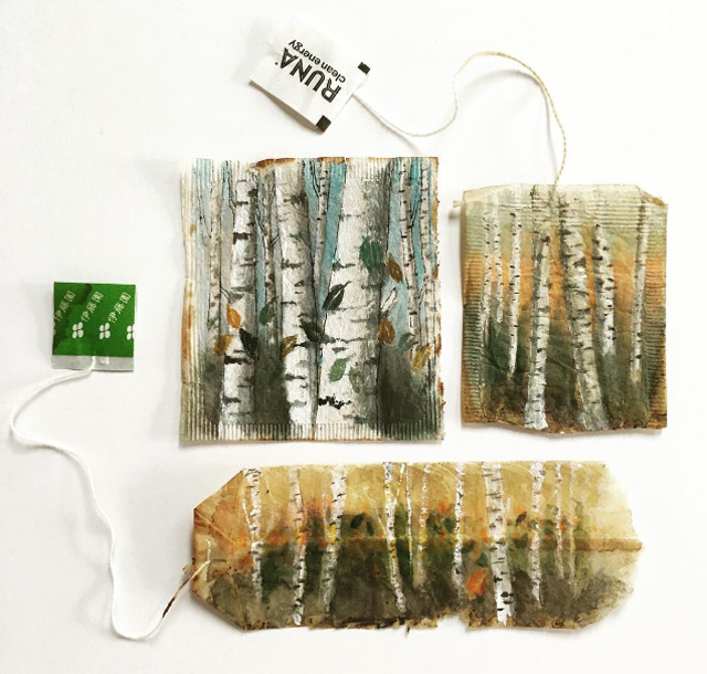 рисунки на чайных пакетиках