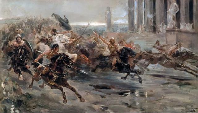 «Гунны идут на Рим» - картина испанского художника Ульпиано Чеки (Ulpiano Fernandez-Checa y Saiz (1860-1916)
