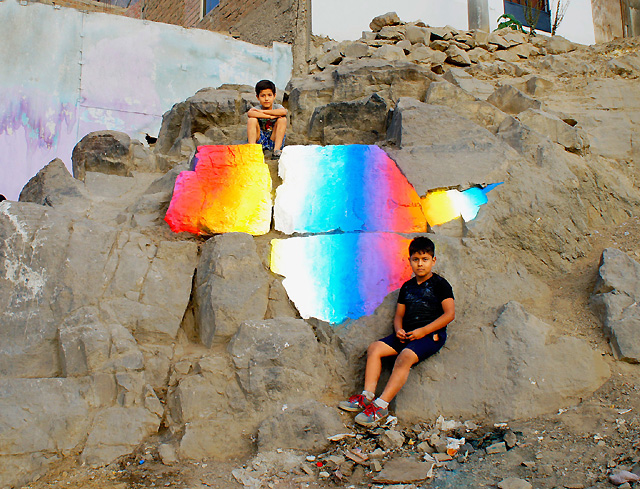Радужные градиенты в стрит-арте